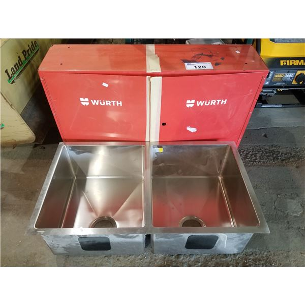 RED TOOL CABINET & DOUBLE BOWL STAINLESS STEEL SINK