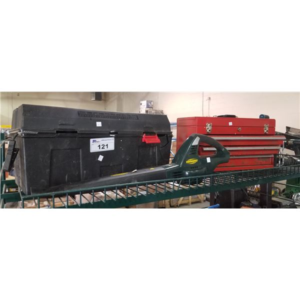 2 TOOL CHESTS & CONTENTS, YARDWORKS LEAF BLOWER