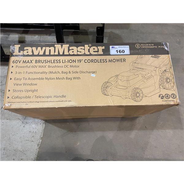 """LAWNMASTER 60V MAX BRUSHLESS 19"""" CORDLESS MOWER"""