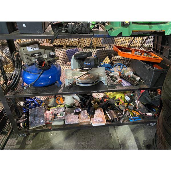 150 PSI AIR COMPRESSOR, DELTA MITRE SAW AIR NAILERS, TOOL BOX & CONTENTS (HAMMER, SCREWDRIVERS,