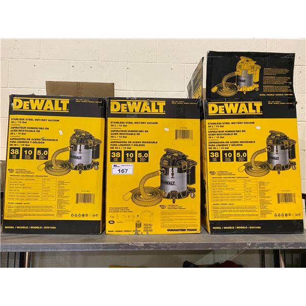 3 DEWALT STAINLESS STEEL WET/DRY 38L SHOP VAC (UNKNOWN WORKING CONDITION)