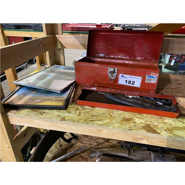 2 FRAMED PICTURES & METAL TOOL BOX CONTAINING CONTENTS (SMALL HAND TOOLS, ETC)