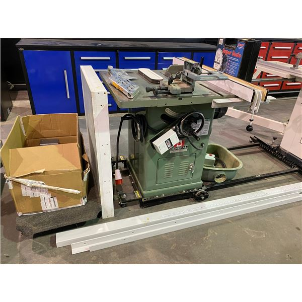 """CANADIAN GENERAL 350 10"""" TABLE SAW WITH COMPLETE FENCE SYSTEM, TENNON JIG, DADO SET, EXTRA SAW"""