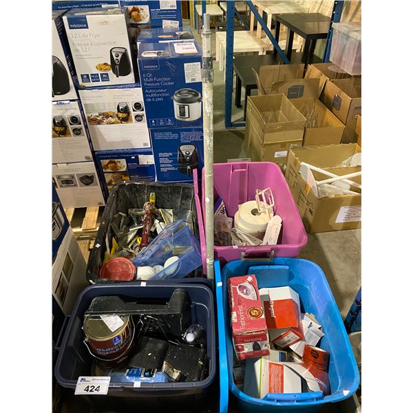 PALLET OF ASSORTED TOOLS, HARDWARE, WRAP, ETC