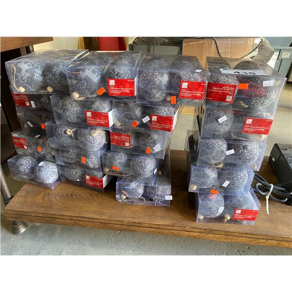 APPROX 20 PACKAGES OF SHATTER RESISTANT CABLE KNIT ORNAMENTS