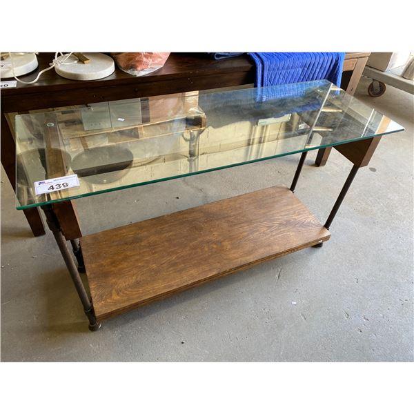 GLASS TOP HALL TABLE