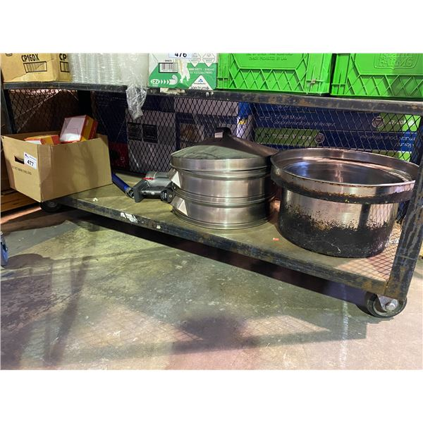 LARGE COOKING POT, DYSON VACUUM FOR PARTS/REPAIR, BOX OF KEYED LOCKS, ETC