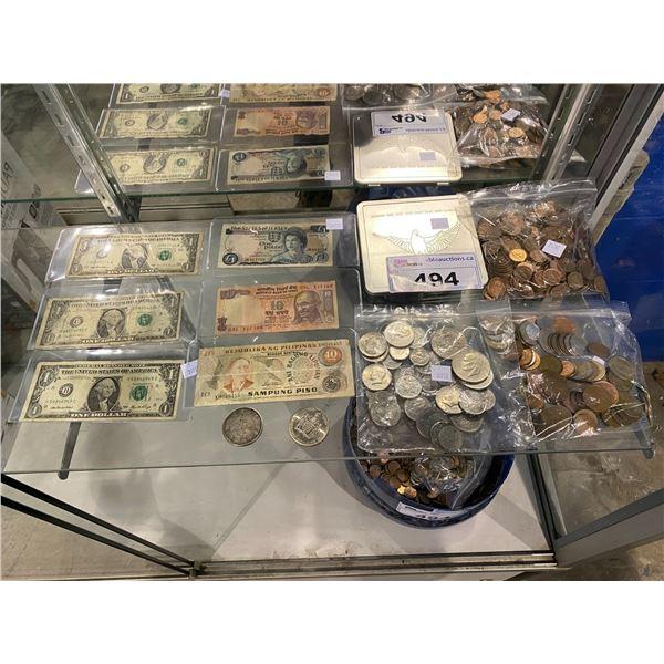 ASSORTED BILLS & COINS (VARIOUS CURRENCIES)