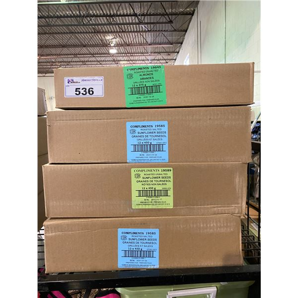 4 BOXES OF ASSORTED DRIED GOODS (ALMONDS, SALTED & UNSALTED SUNFLOWER SEEDS)