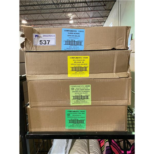 4 BOXES OF ASSORTED DRIED GOODS (GUMMI WORMS, WILD SNACK MIX, SUNFLOWER SEEDS, COLORADO TRAIL MIX)