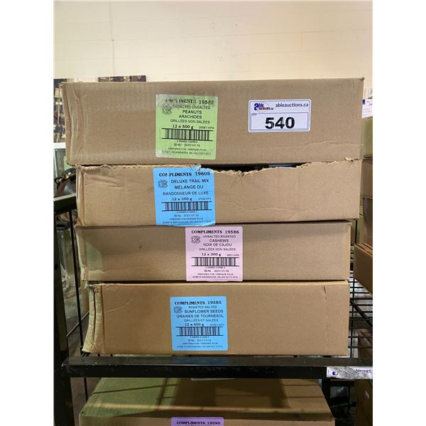4 BOXES OF ASSORTED DRIED GOODS (PEANUTS, TRAIL MIX, CASHEWS, SUNFLOWER SEEDS)