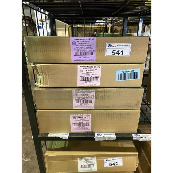4 BOXES OF ASSORTED DRIED GOODS (MIXED NUTS, ALMONDS, BBQ PEANUTS)