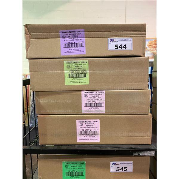 4 BOXES OF ASSORTED DRIED GOODS (YOGURT COVERED PRETZELS, PEANUTS, BBQ PEANUTS, CASHEWS)