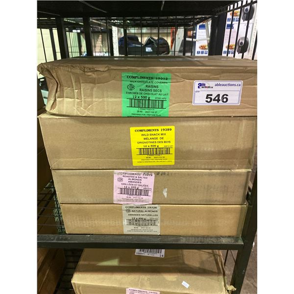 4 BOXES OF ASSORTED DRIED GOODS (RAISINS, WILD SNACK MIX, ALMONDS)