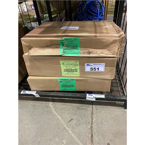 3 BOXES OF ASSORTED DRIED GOODS (ALMONDS & SUNFLOWER SEEDS)
