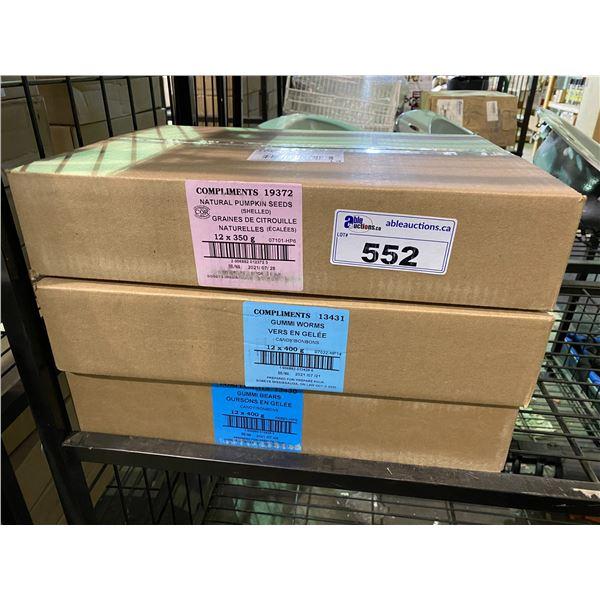 3 BOXES OF ASSORTED DRIED GOODS (PUMPKIN SEEDS, GUMMI WORMS, GUMMI BEARS)