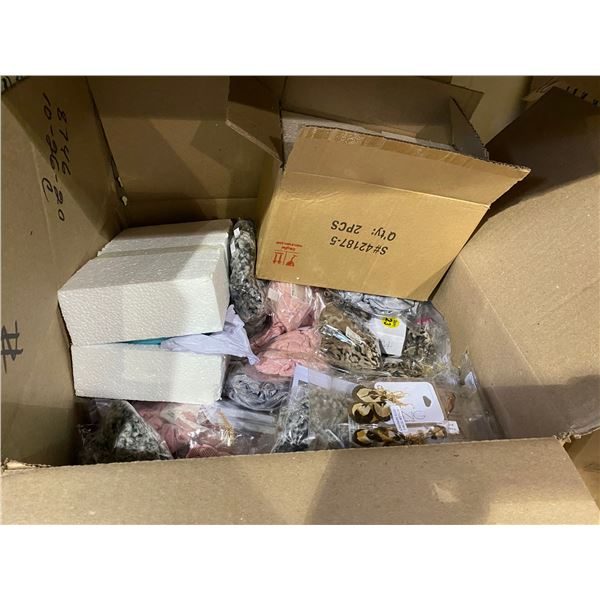 BOX OF ASSORTED STORE GOODS (CUPS, HAIR ACCESSORIES, JEWELRY, EYELASH CURLERS, ETC)