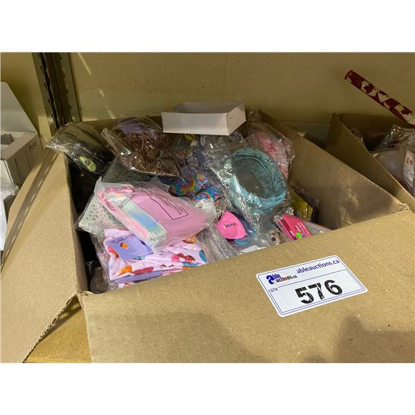 BOX OF ASSORTED STORE GOODS (JEWELRY, HAIR ACCESSORIES, BEAUTY SUPPLY. HAND BAGS, ETC)
