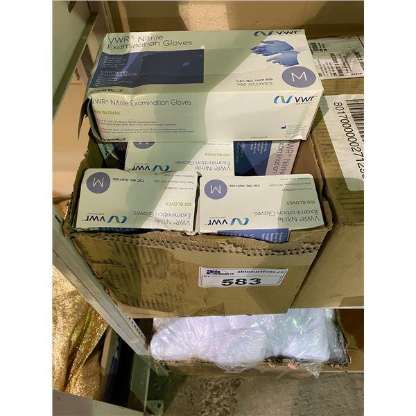 10 BOXES OF VWR NITRILE EXAMINATION GLOVES (SIZE MEDIUM)