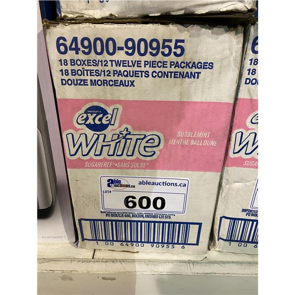 BOX OF WRIGLEY'S EXCEL WHITE SUGAR FREE GUM (18X12 PACKAGES)