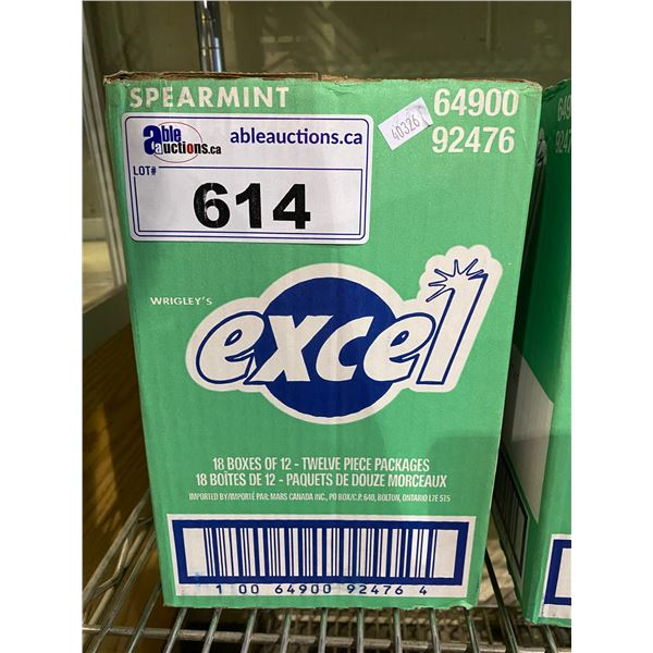 BOX OF WRIGLEY'S EXCEL SPEARMINT SUGAR FREE GUM (18X12 PACKAGES)