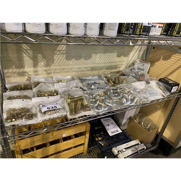ASSORTED HARDWARE (NUTS, BOLTS, FELION BRUSHES, ETC)
