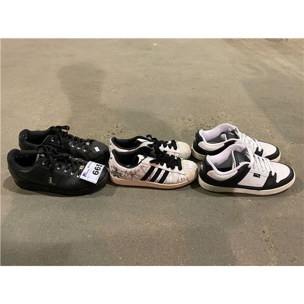 3 PAIRS OF SHOES (ADIDAS, LUGZ & LA GEAR)