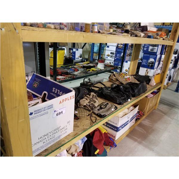 BOX OF BOOKS & ASSORTED DESIGNER HAND BAGS/PURSE