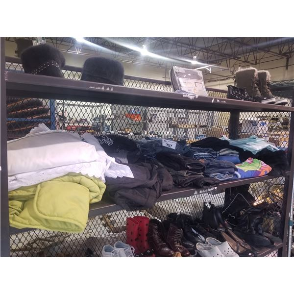2 SHELFS OF HATS, SHOES, BED SHEET SET & CLOTHING