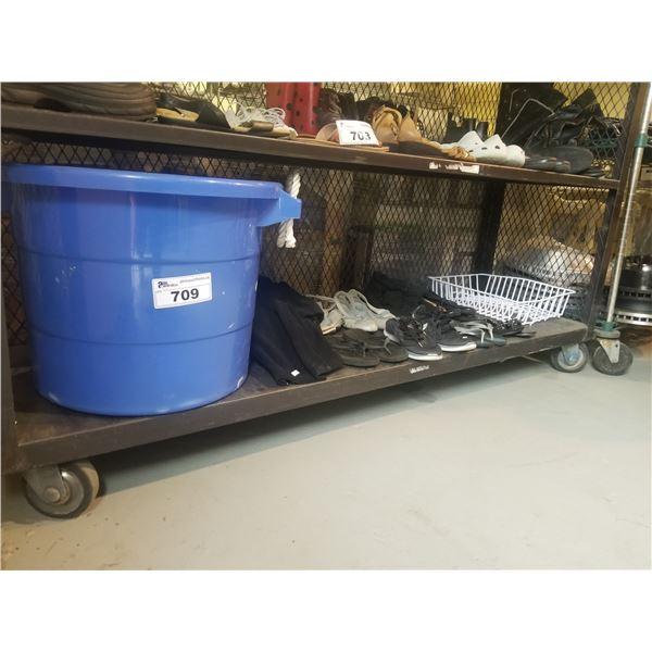 PLASTIC BUCKET OF CLOTHING & XMAS DECOR, SHOES/SANDALS, DISH DRYING RACK