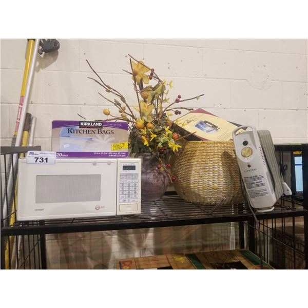 CITIZEN MICROWAVE, FAUX PLANT, GARBAGE BAGS, BASKET, AIRWORKS HEATER, ETC