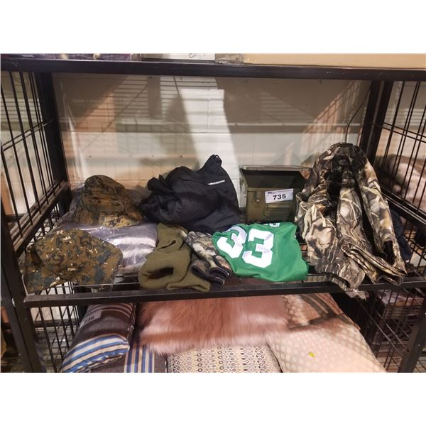 ASSORTED CAMO CLOTHING, JERSEY, HATS, ETC
