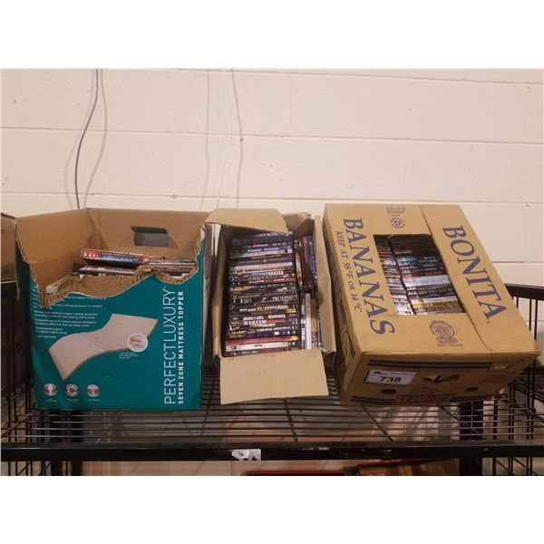 3 BOXES OF ASSORTED DVDS/CDS