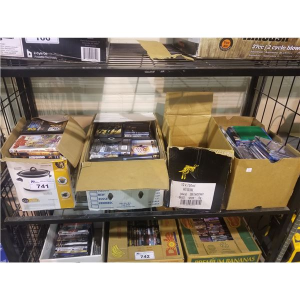 4 BOXES OF ASSORTED DVDS/CDS