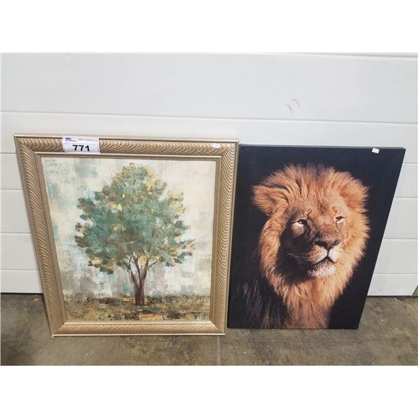 FRAMED CANVAS & LION PRINT