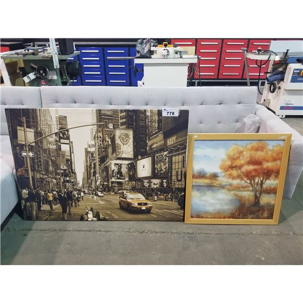 "LARGE CANVAS OF NEW YORK 46 X 32"" & FRAMED CANVAS 26 X 26"""