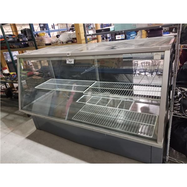"COLDSTREAM COMMERCIAL FOOD COOLER 34.5""D X 76.25""L X 47.75""H (CRACKED GLASS)"