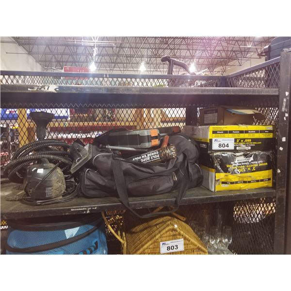 TOOL BAG & CONTENTS (ROPE, MILWAUKEE CHARGER, SCREW DRIVERS, WRENCHES, ETC)