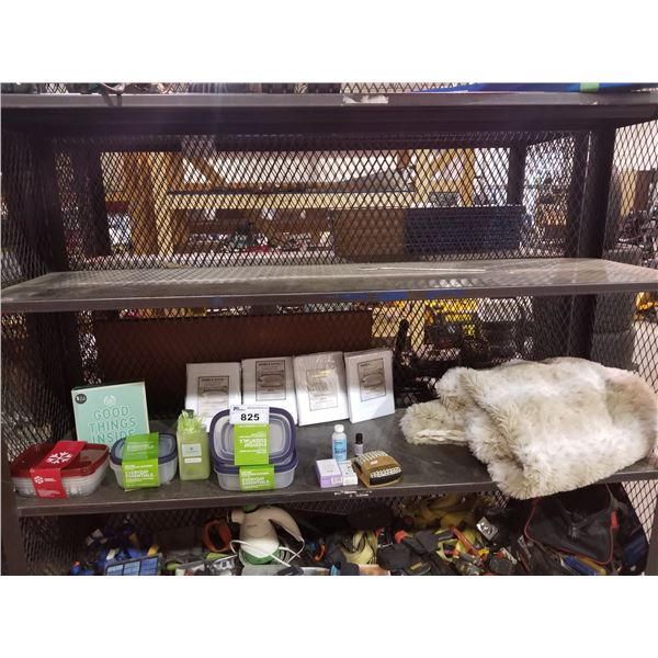 ASSORTED CONTAINERS, BATHROOM ITEMS, BLANKET & MORE