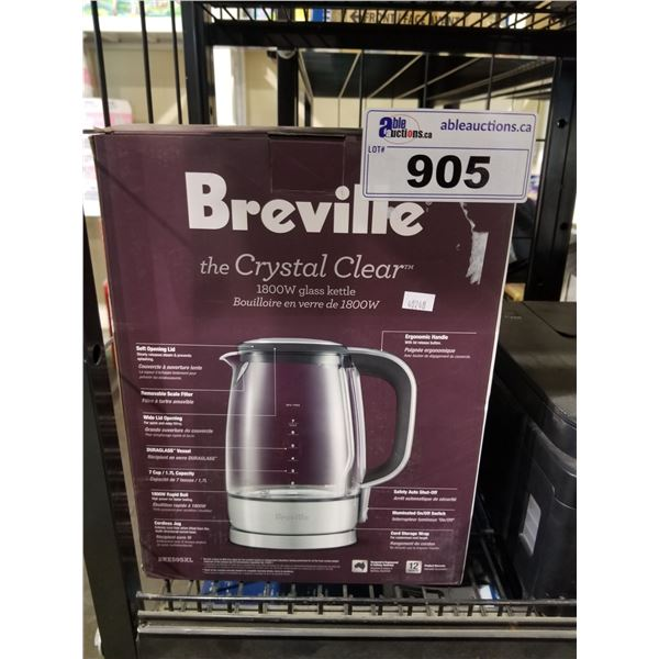 """BREVILLE """"THE CRYSTAL CLEAR"""" 1800W GLASS KETTLE"""