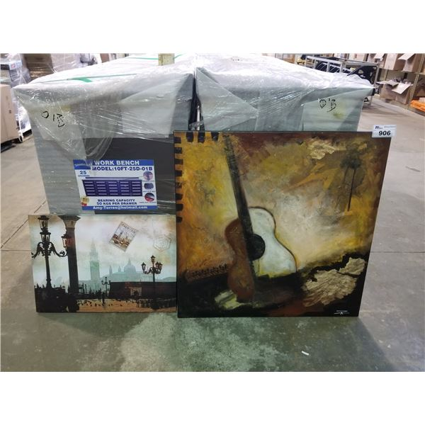"""2 CANVAS PAINTINGS APPROX. 36"""" X 36"""" & 19.5"""" X 27.5"""""""