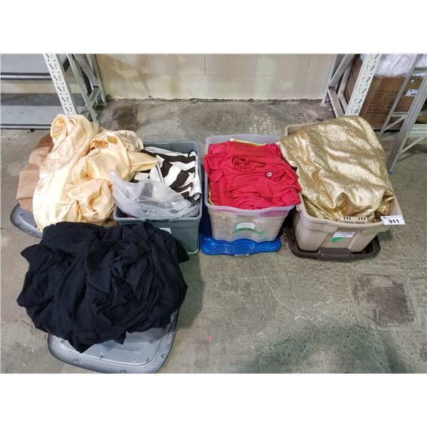 LARGE LOT OF SILVER AND GOLD DRAPES PLUS FABRIC