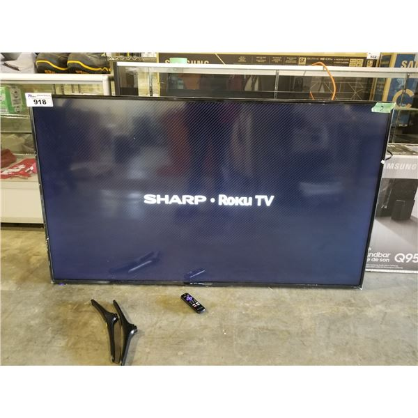 """SHARP 65"""" T.V. MODEL-LC-65LBU591C, WITH REMOTE, CORD & STAND"""
