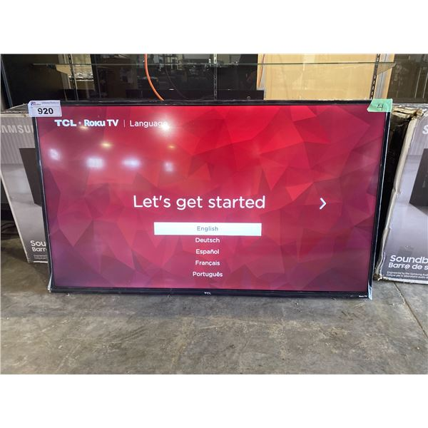 """TCL 50"""" T.V. MODEL-50S423-CA WITH CORD (NO REMOTE, NO STAND)"""