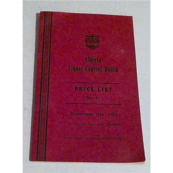Alberta Liquor Control Board 1953 Price List Book