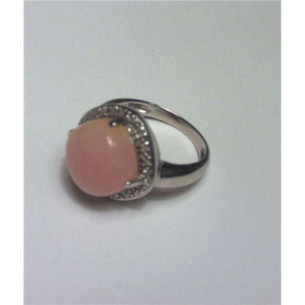 Vintage Pink Stone Sterling silver ring