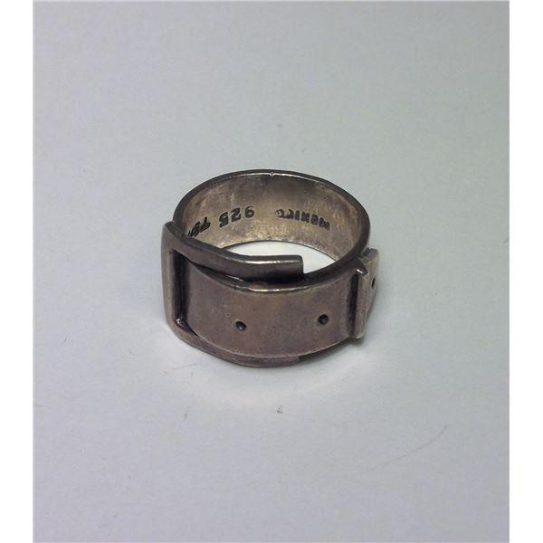 Vintage Belt Design Sterling Silver Ring