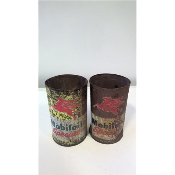 Lot of 2 Mobil Special Oil Tins