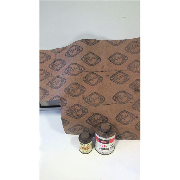 Vintage Gasket Seal Tins and Gasket Sheet