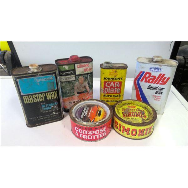 Lot of 6 Vintage Car Wax tins